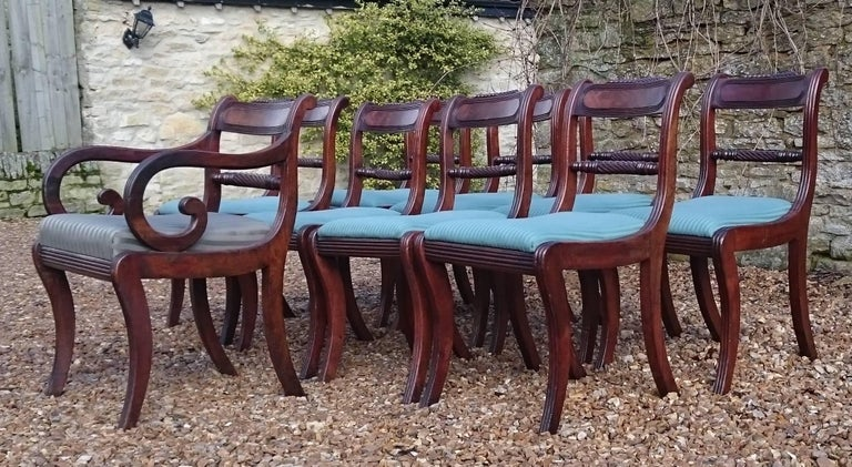 Early 19th Century Regency Mahogany Set Of Nine Antique Dining Chairs For Sale 4