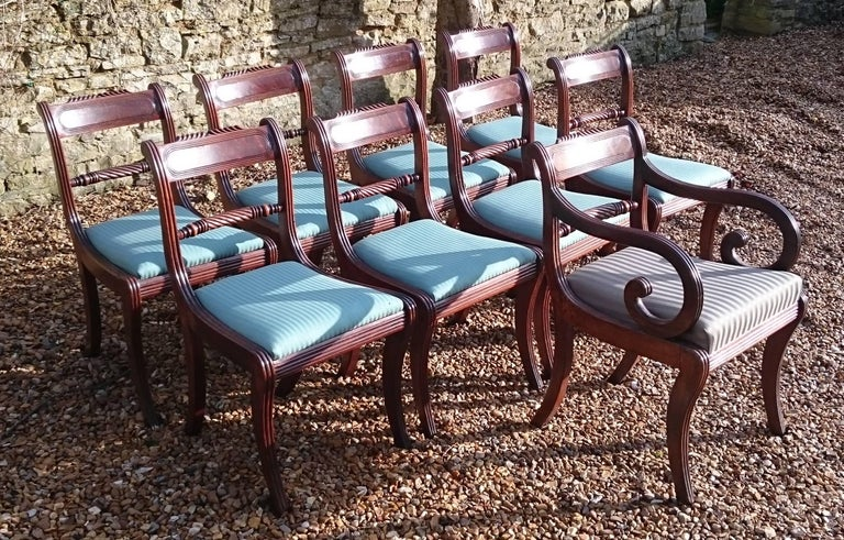 Early 19th Century Regency Mahogany Set Of Nine Antique Dining Chairs For Sale 1