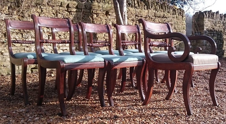 Early 19th Century Regency Mahogany Set Of Nine Antique Dining Chairs For Sale 2