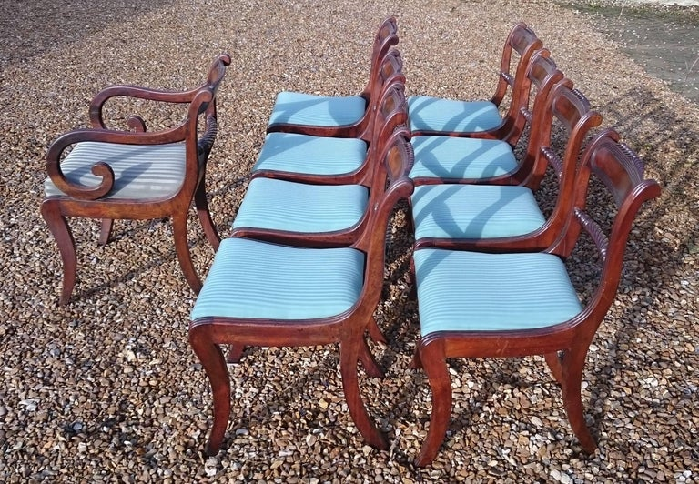 Early 19th Century Regency Mahogany Set Of Nine Antique Dining Chairs For Sale 5
