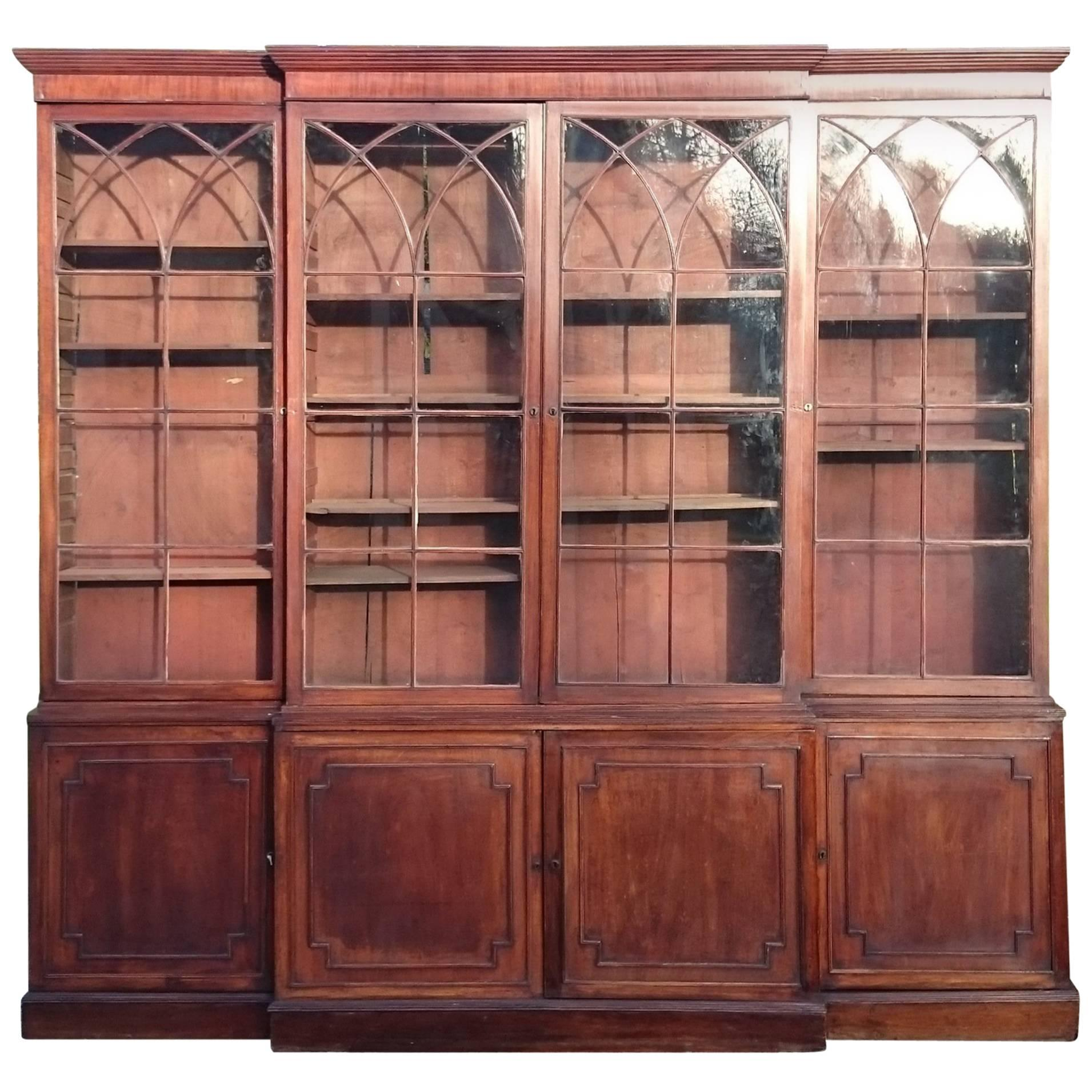 Large and Fine 18th Century George III Period Mahogany Breakfront Bookcase