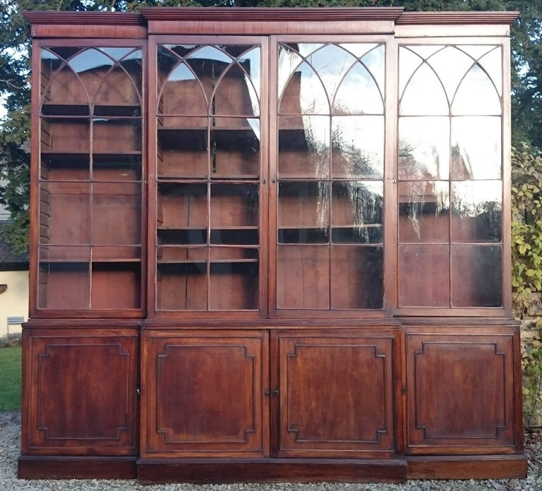 British Large and Fine 18th Century George III Period Mahogany Breakfront Bookcase For Sale