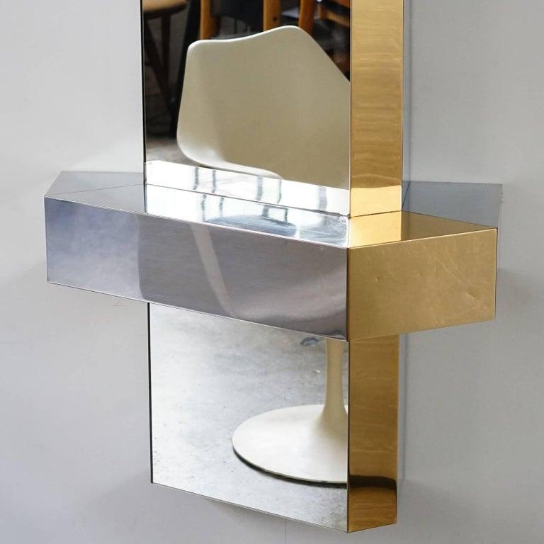 Cityscape mirror in the manner of paul evans for sale at for Full length mirror with shelf