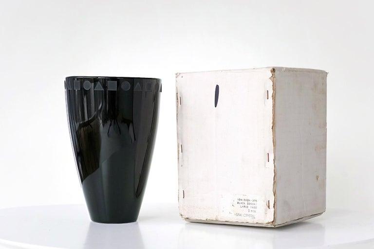 Crystal Large Black Sengai Vase by Ward Bennett For Sale