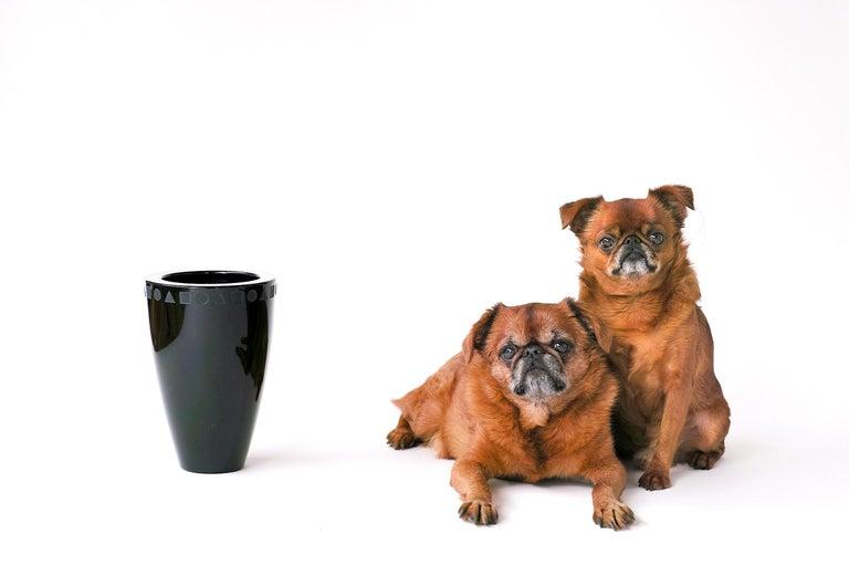 Post-Modern Large Black Sengai Vase by Ward Bennett For Sale