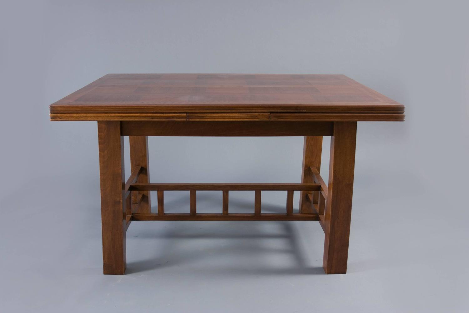 Dining table with extension leaves attributed to francis for 3 leaf dining room tables