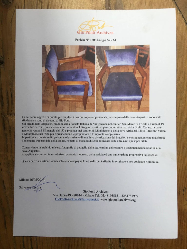 Six Chairs, Design Gio Ponti, 1950, Italy, Augustus Ship In Excellent Condition For Sale In Verona, IT