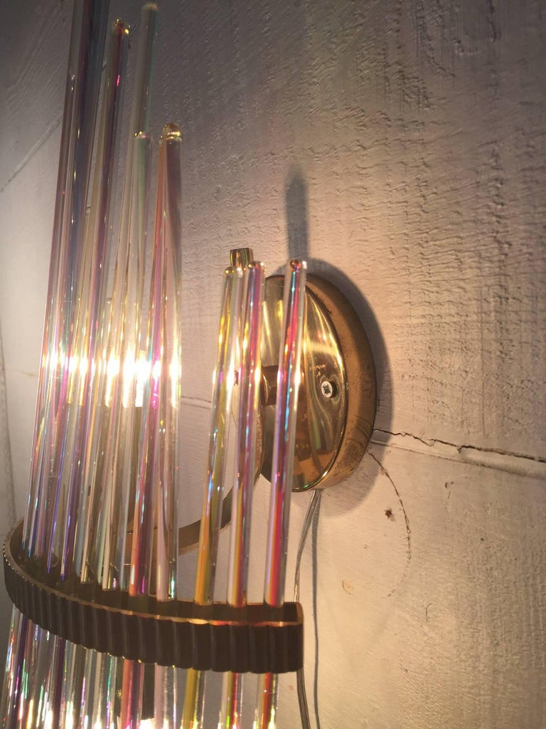 Splendid rare pair of wall lamps design, Sciolari, 1960, Brass structure, colored glass slats, removable, and direction able, great construction and genial, production label.