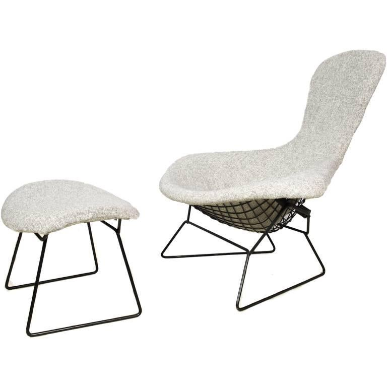 Bird chair and ottoman by harry bertoia for knoll for sale for Chaise bertoia knoll