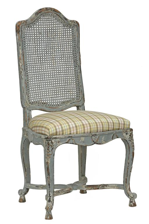 French 19th Century Louis XV Style Country French Patinated Dining Chairs For