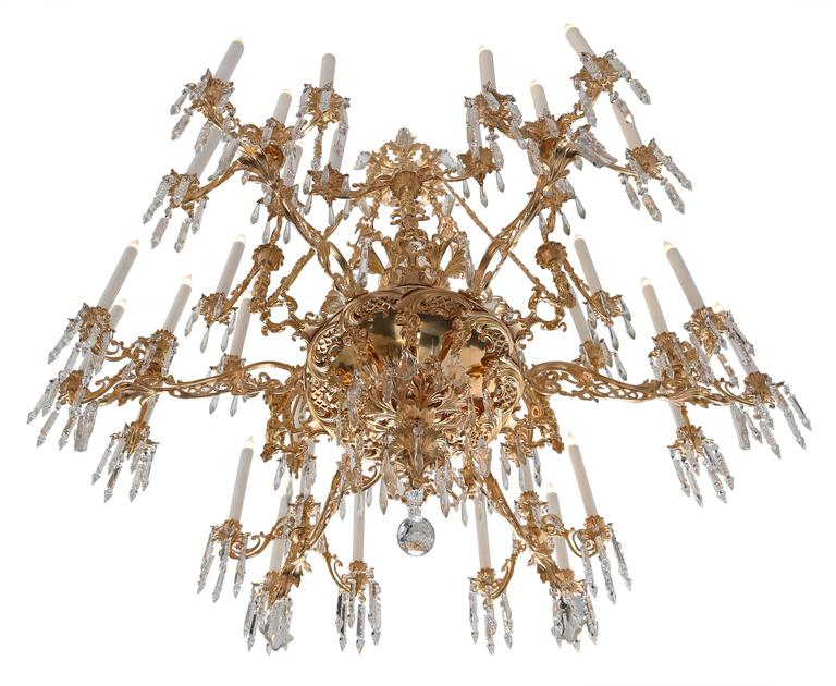 French 19th Century Renaissance Style Ormolu And Baccarat