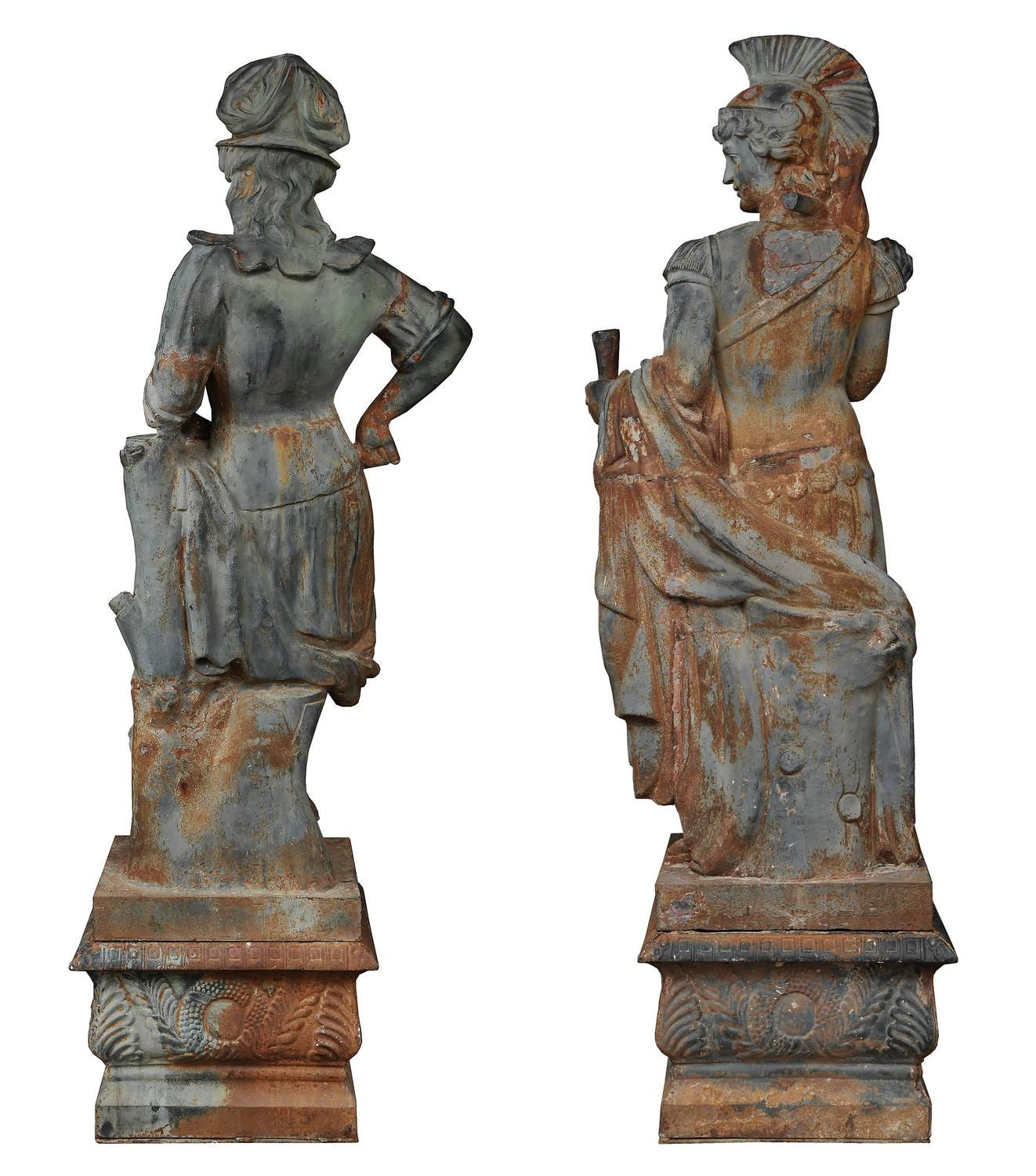 True pair of lifesize french 19th century neoclassical style cast iron statues for sale at 1stdibs - Wrought iron garden sculptures ...