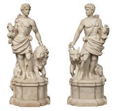 True Pair of Italian 19th Century White Carrara Marble Statues