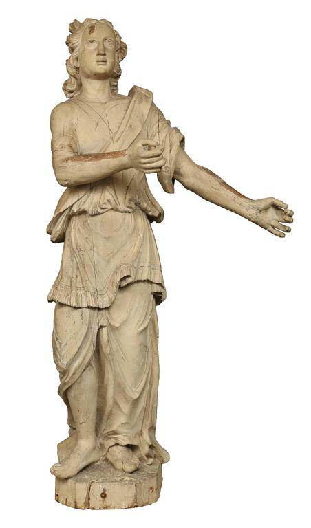 Italian 17th Century Patinated Wood Carved Statue In Excellent Condition For Sale In West Palm Beach, FL