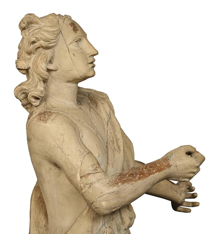 18th Century and Earlier Italian 17th Century Patinated Wood Carved Statue For Sale