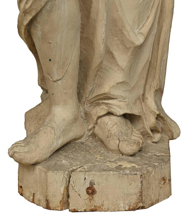 Italian 17th Century Patinated Wood Carved Statue For Sale 1