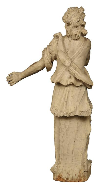 Italian 17th Century Patinated Wood Carved Statue For Sale 4