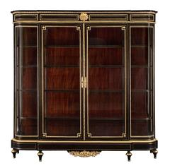 French 19th Century Napoleon III Period Ebony, Brass and Ormolu Boulle Vitrine