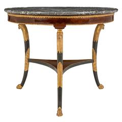 19th Century Directoire St. Flamed Mahogany and Marble Centre Table