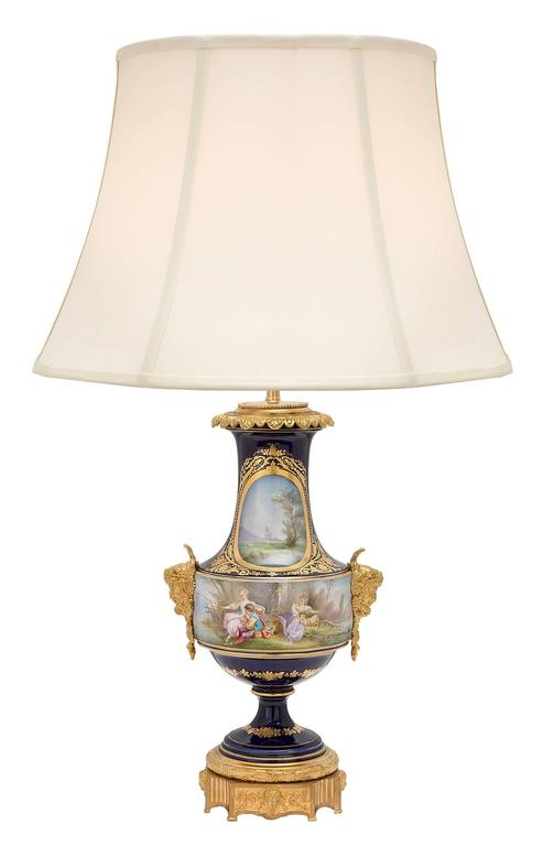 Pair of French 19th Century Louis XVI Style Sèvres Porcelain and Ormolu Lamps In Excellent Condition For Sale In West Palm Beach, FL