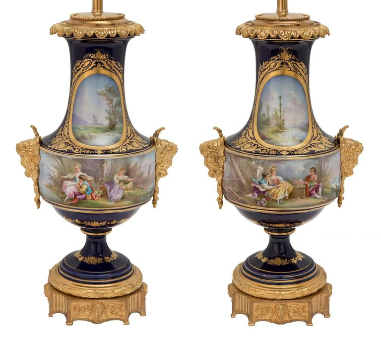 Pair of French 19th Century Louis XVI Style Sèvres Porcelain and Ormolu Lamps For Sale 2