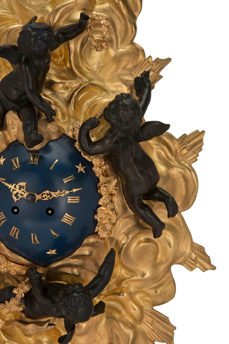 French 19th Century Louis XV St. Ormolu and Patinated Bronze Cartel Clock For Sale 1