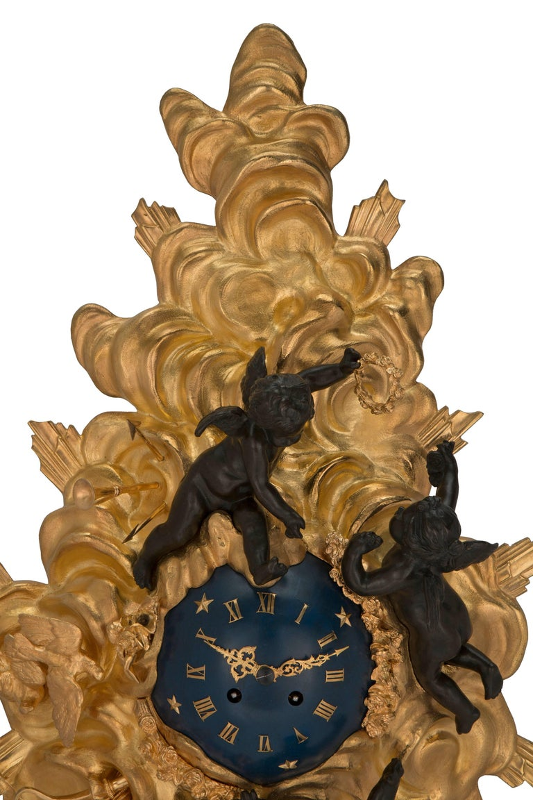French 19th Century Louis XV St. Ormolu and Patinated Bronze Cartel Clock For Sale 2