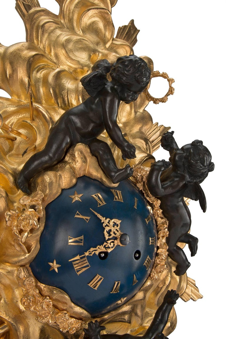 French 19th Century Louis XV St. Ormolu and Patinated Bronze Cartel Clock For Sale 3