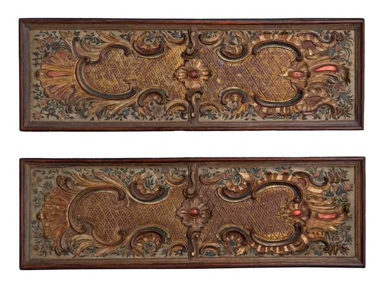 Pair of Italian Early 19th Century Baroque St. Carved Decorative Panels For Sale 3