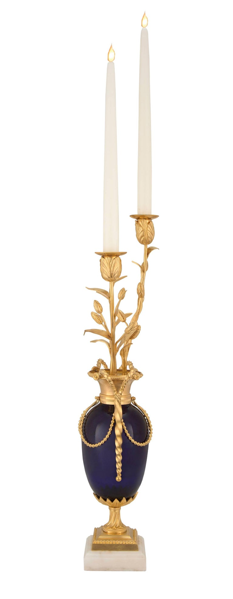 French Mid-19th Century Louis XVI Style Cobalt Blue Glass and Ormolu Candelabra For Sale 1