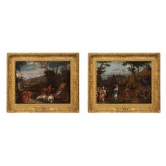 Pair of Continental 17th Century Oil on Canvas Battle Scene Paintings