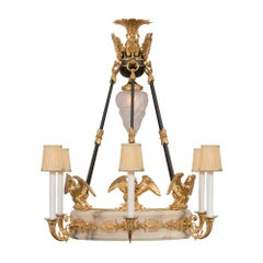 French 19th Century Empire Neoclassical St. Alabaster and Ormolu Chandelier