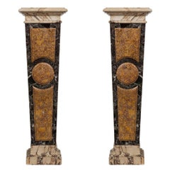 Pair of Italian 19th Century Louis XVI Style Marble Columns