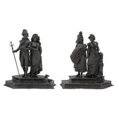 Pair of 19th Century Bronzes Depicting Parisians During the Belle Époque