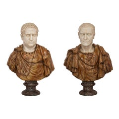Pair of Italian, 19th Century Marble Busts of Roman Emperors