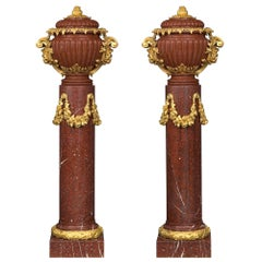 Pair of French 19th Century Louis XVI Style Marble Columns with Lidded Urns