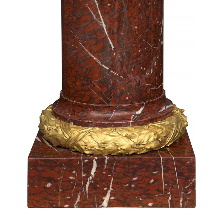 Pair of French 19th Century Louis XVI Style Marble Columns with Lidded Urns In Excellent Condition For Sale In West Palm Beach, FL