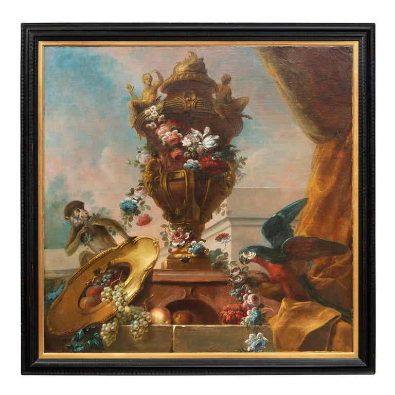 Striking Continental 19th Century Still Life Oil on Canvas Painting