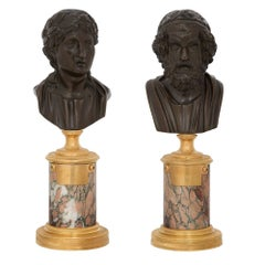 Pair of French Neoclassical Style 19th Century Bronzes of Virgile and Homer