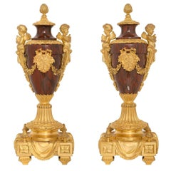 Pair of French 19th Century Louis XVI St. Marble and Ormolu Cassolettes
