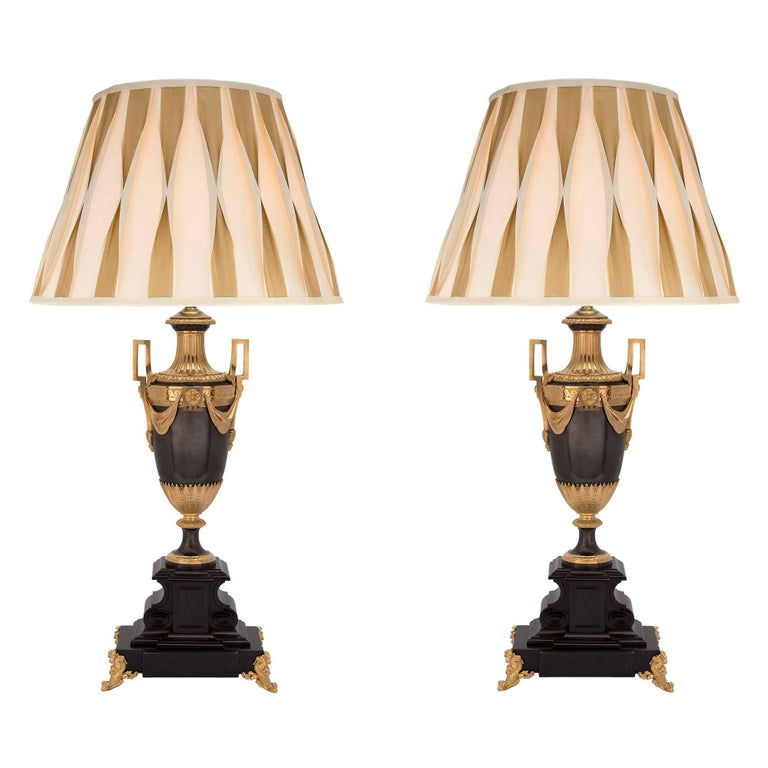 Pair of French 19th Century Louis XVI Patinated Bronze and Ormolu Lamps