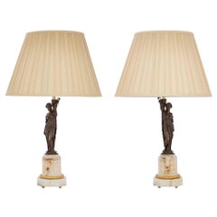 Pair of French 19th Century Neo-Classical Bronze, Ormolu and Marble Lamps