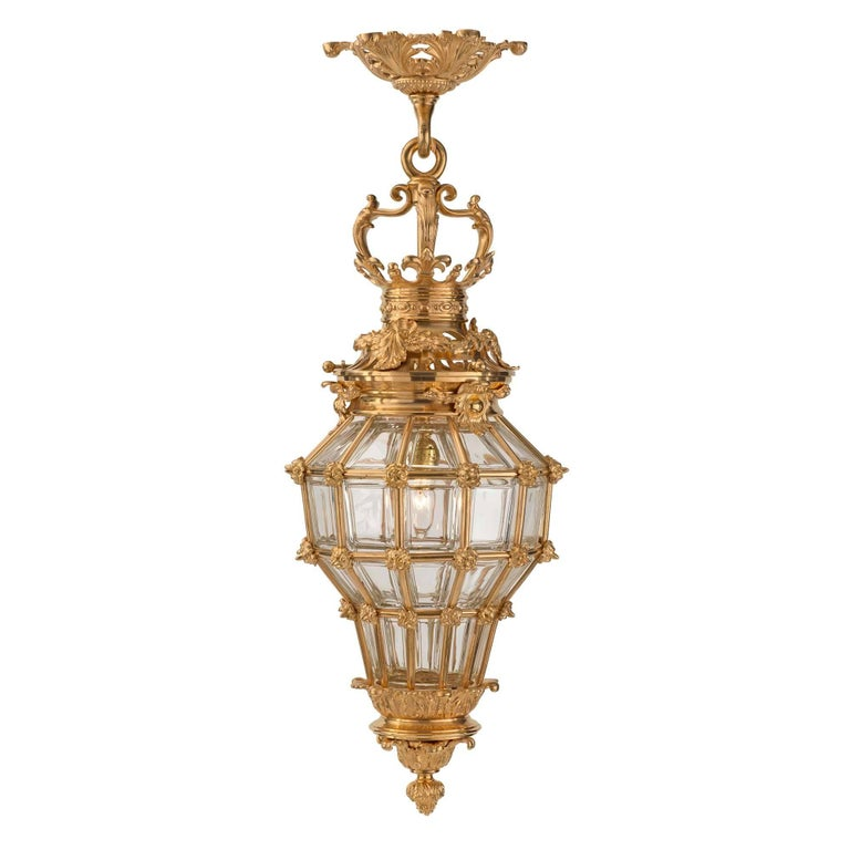 French 19th Century Louis XVI Style Ormolu and Crystal Lantern