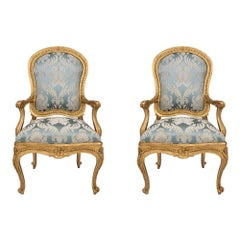 Pair of Italian 18th Century Louis XV Throne Giltwood Armchairs à Chassis