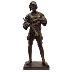 French 19th Century Patinated Bronze Statue of Soldier, Signed E. Picault