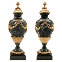 Pair of French 19th Century Louis XVI St. Marble and Ormolu Lidded Urns