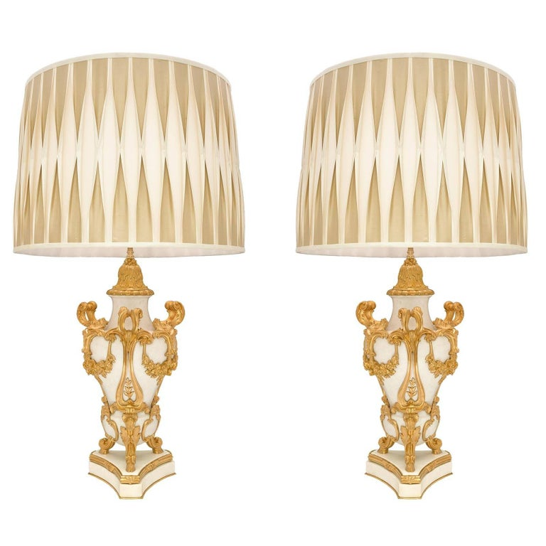 Pair of French Mid-19th Century Louis XV / XVI St. Ormolu and Marble Lamps