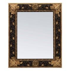 Italian 19th Century Baroque Style Polychrome and Gilt Rectangular Mirror