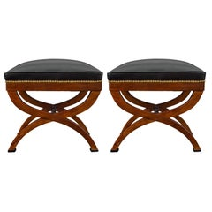 Pair of French Early 19th Century Neoclassical Style Mahogany and Ebony Benches