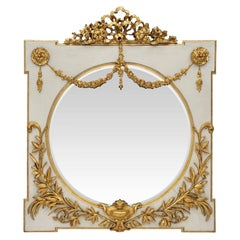 Italian Early 19th Century Louis XVI St. off White and Gilt Square Mirror